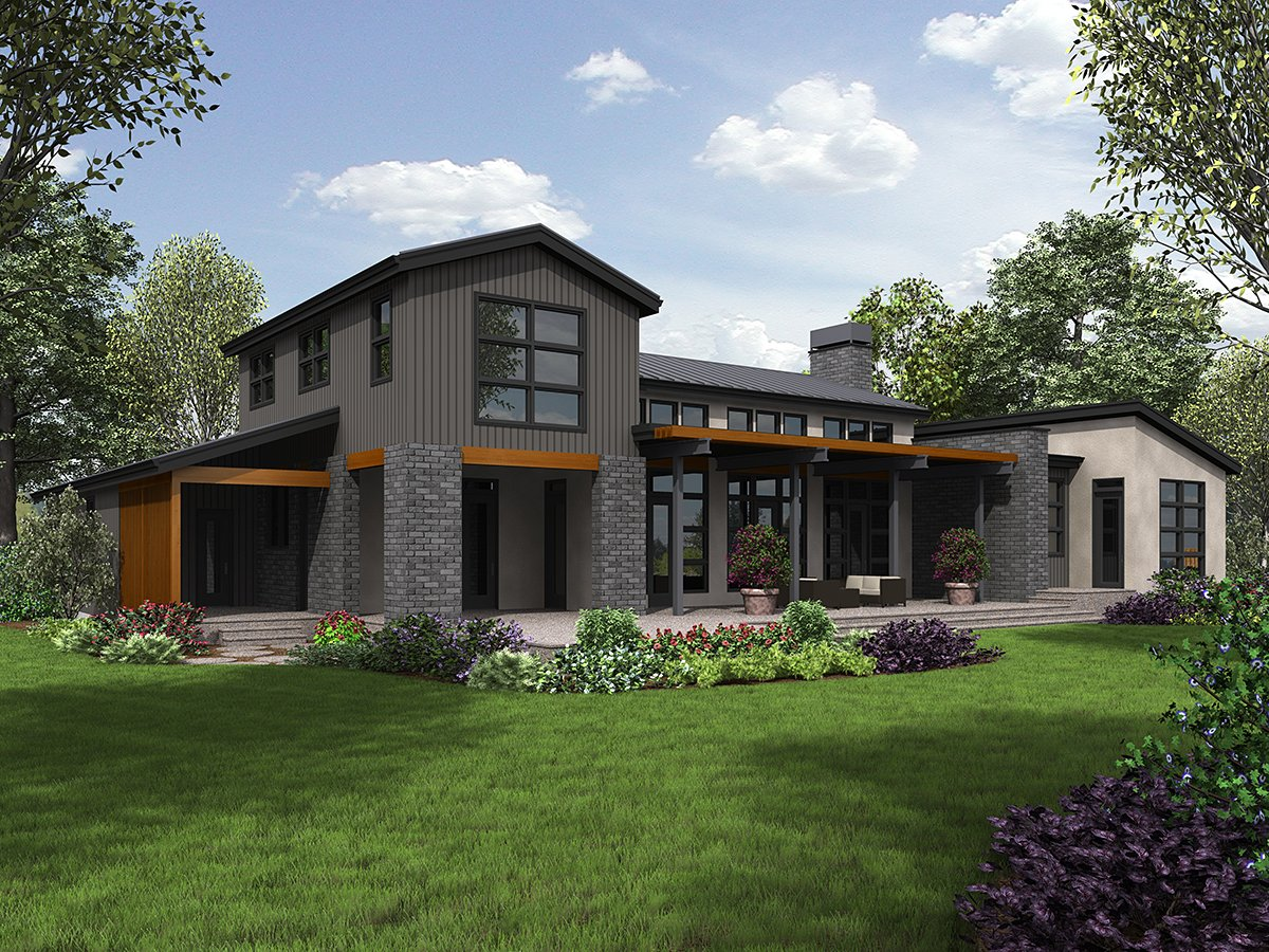 Contemporary, Modern House Plan 81304 with 3 Beds, 3 Baths, 3 Car Garage Rear Elevation