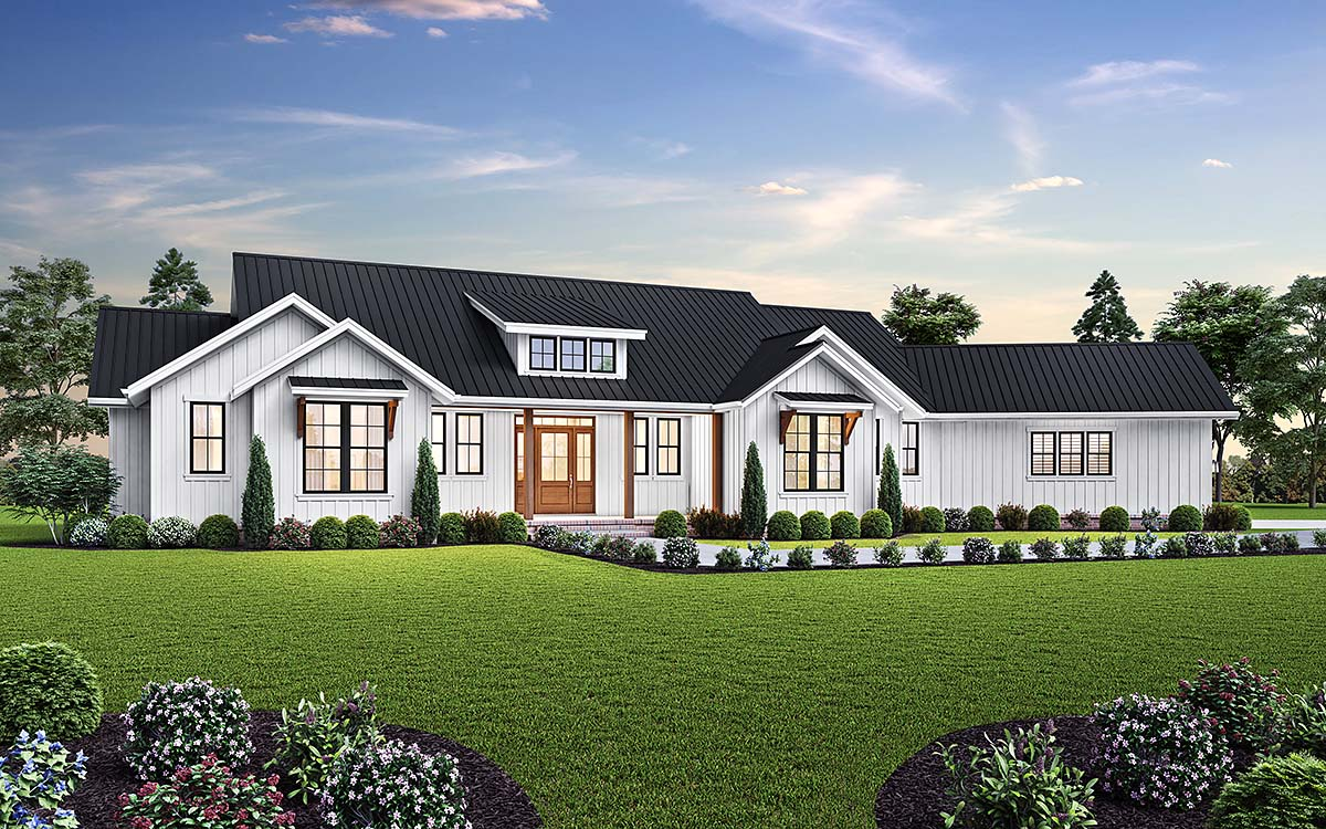 Country, Farmhouse, Ranch House Plan 81307 with 3 Beds, 5 Baths, 3 Car Garage Front Elevation