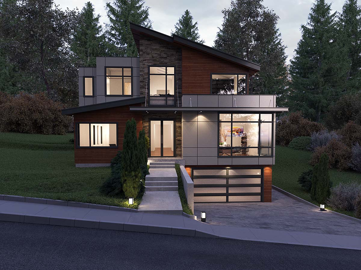 Contemporary, Modern House Plan 81900 with 5 Beds, 5 Baths, 2 Car Garage Elevation
