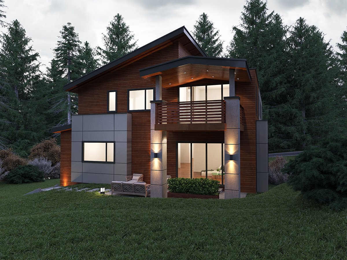 Contemporary, Modern House Plan 81900 with 5 Beds, 5 Baths, 2 Car Garage Rear Elevation