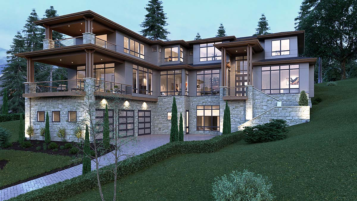 House Plan 81902 - Modern Style with 6901 Sq Ft, 5 Bed, 4 Bath, 2 Half Bath