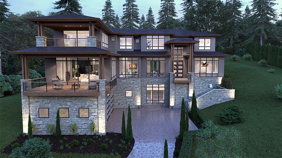 Contemporary, Modern House Plan 81902 with 5 Beds, 6 Baths, 3 Car Garage Picture 1