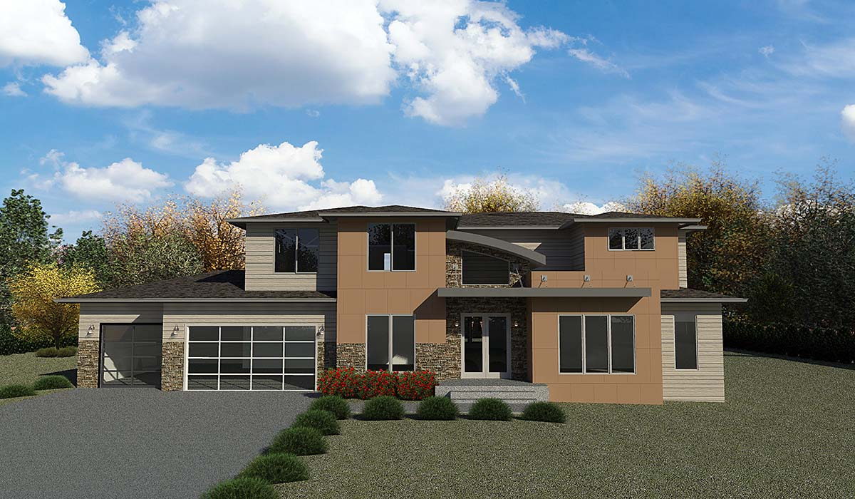 Contemporary, Modern House Plan 81905 with 5 Beds, 4 Baths, 3 Car Garage Elevation
