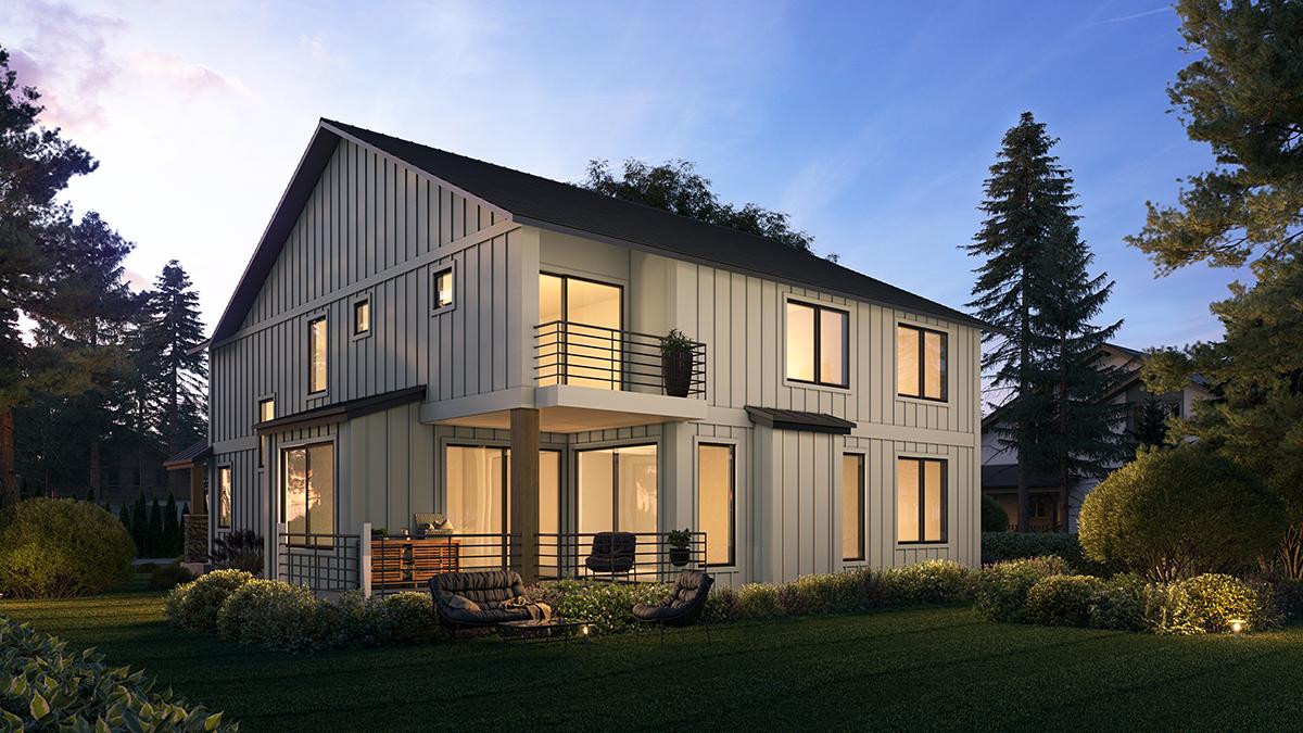 Craftsman, Farmhouse House Plan 81907 with 4 Beds, 3 Baths, 3 Car Garage Rear Elevation