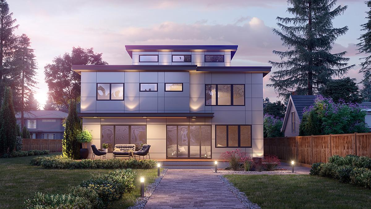 Modern House Plan 81908 with 5 Beds, 4 Baths, 2 Car Garage Rear Elevation
