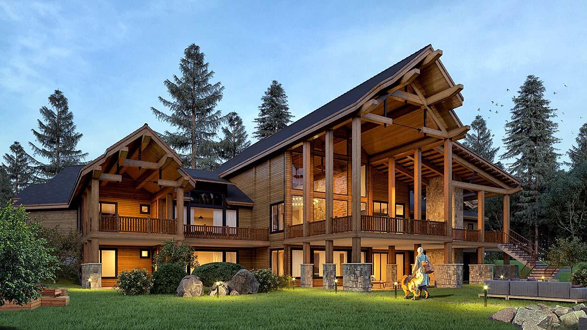 Craftsman, Log House Plan 81916 with 5 Beds, 9 Baths, 4 Car Garage Elevation