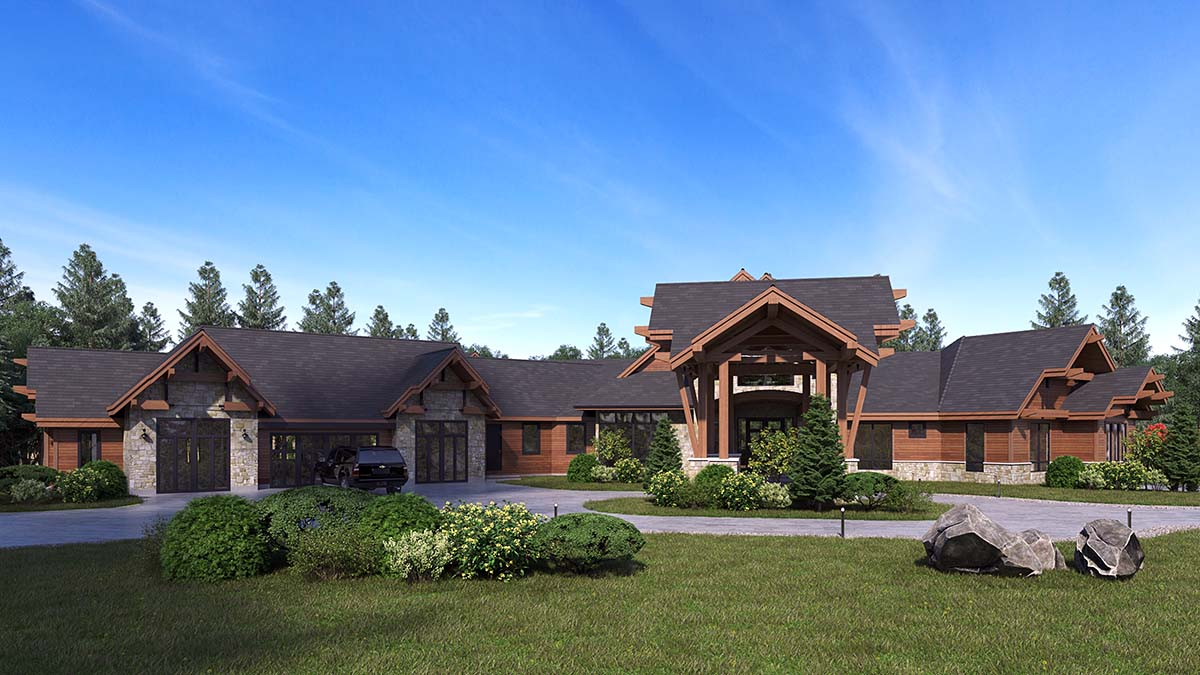 Craftsman, Log House Plan 81916 with 5 Beds, 9 Baths, 4 Car Garage Picture 1
