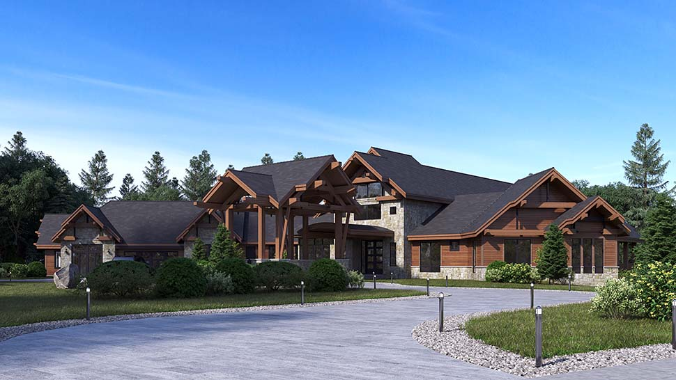 Craftsman, Log House Plan 81916 with 5 Beds, 9 Baths, 4 Car Garage Picture 2