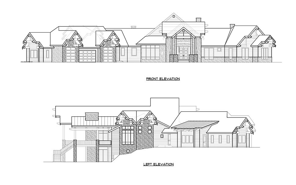 Craftsman, Log House Plan 81916 with 5 Beds, 9 Baths, 4 Car Garage Picture 3