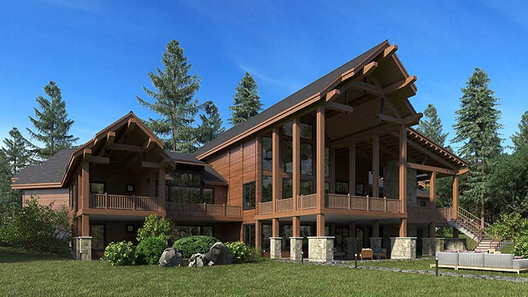 Craftsman, Log House Plan 81916 with 5 Beds, 9 Baths, 4 Car Garage Picture 5