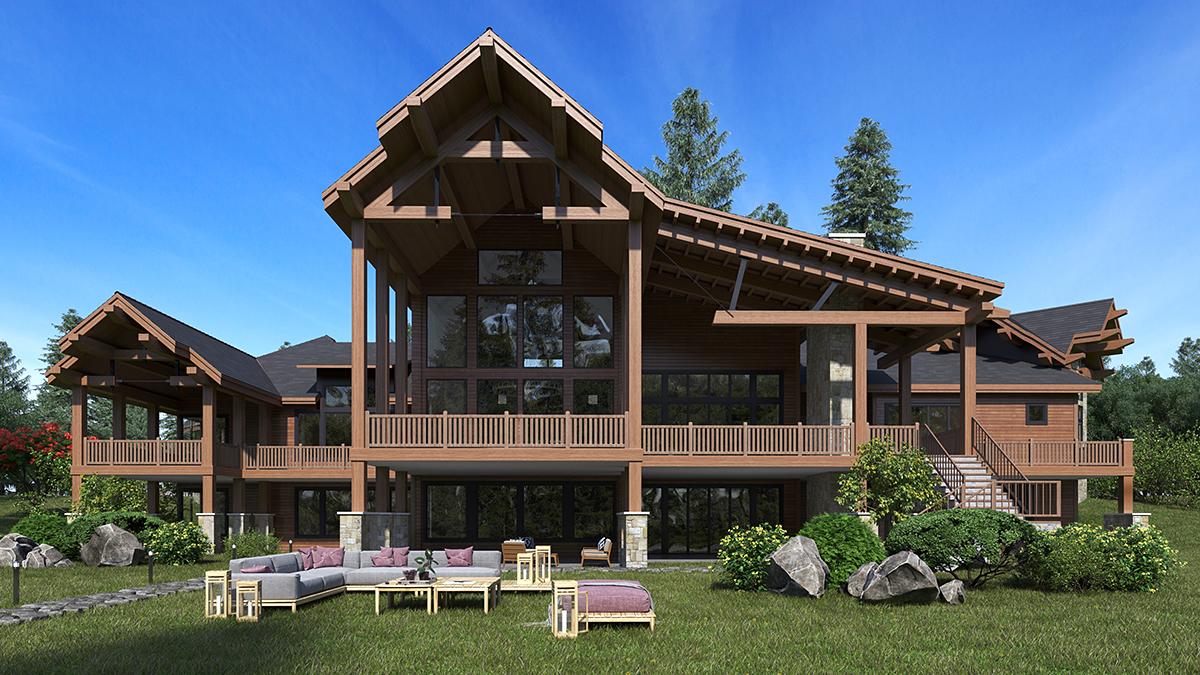 Craftsman, Log House Plan 81916 with 5 Beds, 9 Baths, 4 Car Garage Rear Elevation