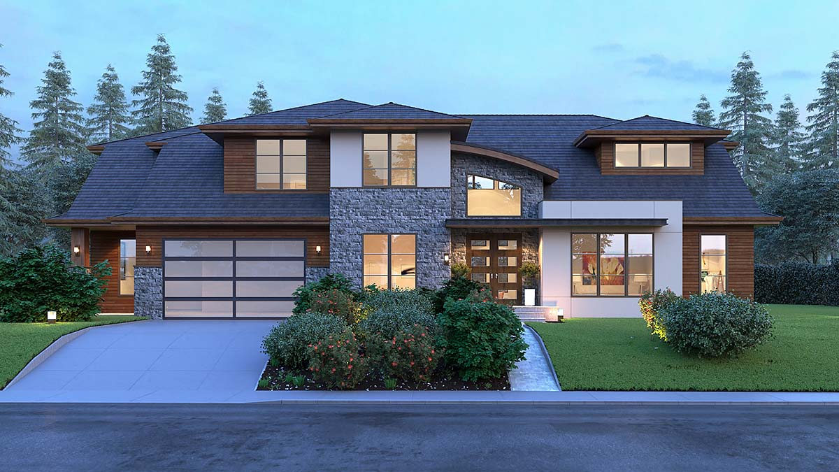 Contemporary, Modern House Plan 81917 with 4 Beds, 4 Baths, 2 Car Garage Elevation