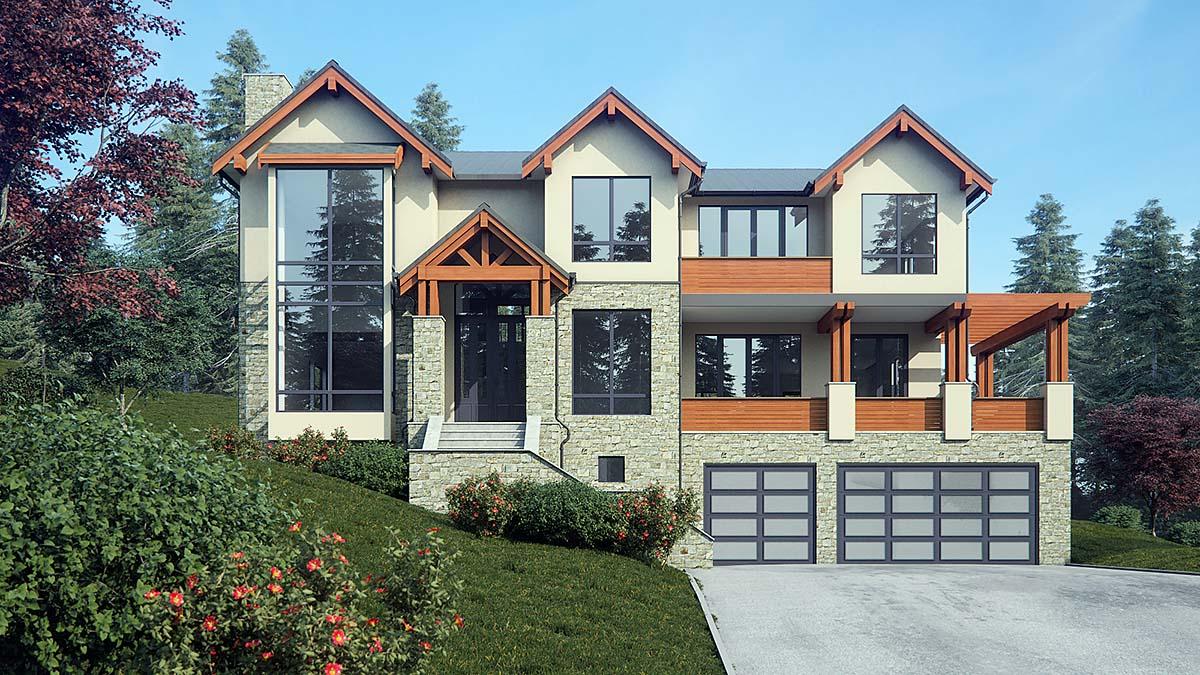 Contemporary, Craftsman, Log House Plan 81918 with 5 Beds, 6 Baths, 3 Car Garage Elevation