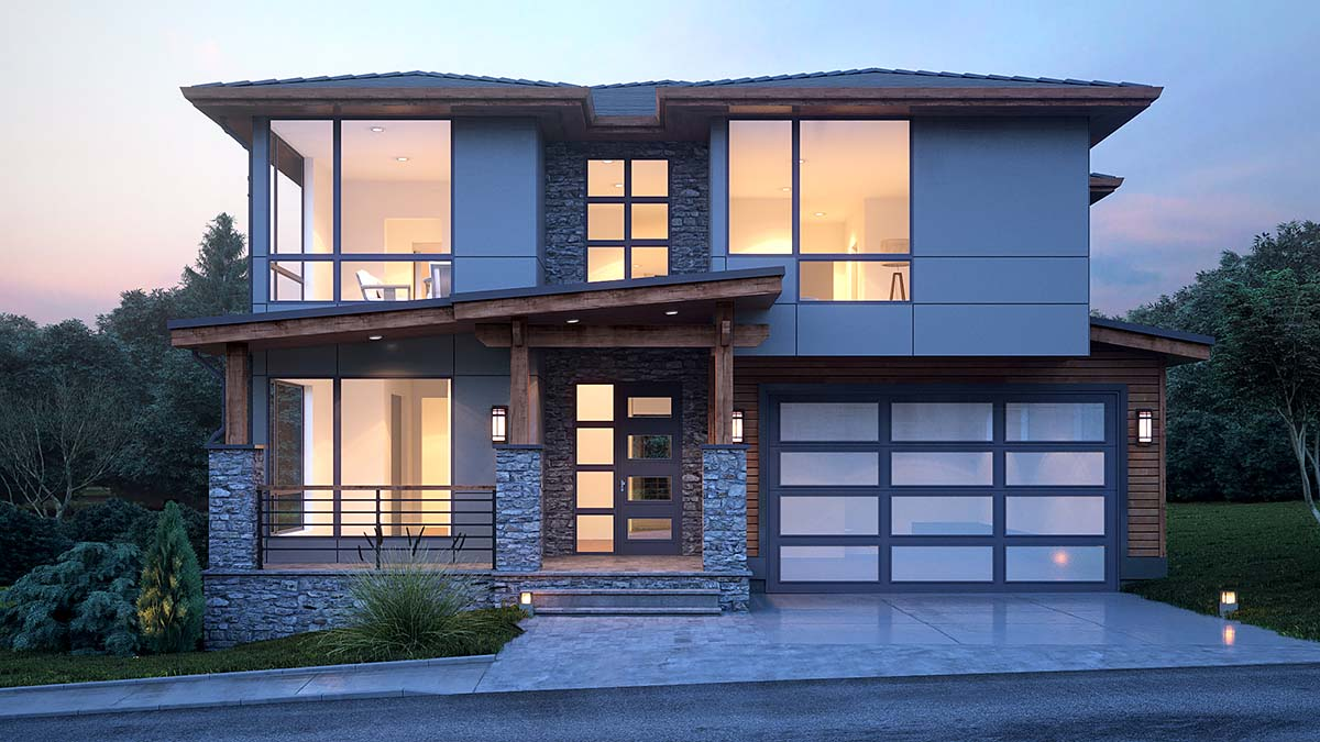 Modern House Plan 81920 with 4 Beds, 4 Baths, 3 Car Garage Elevation