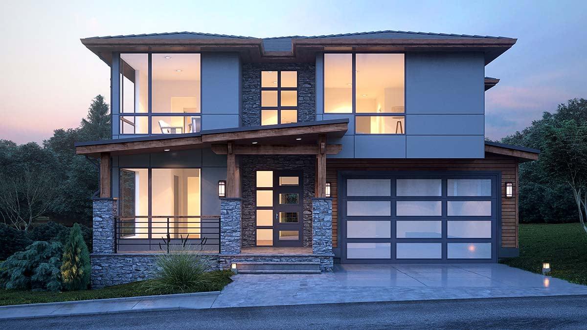 Modern Plan with 3315 Sq. Ft., 4 Bedrooms, 4 Bathrooms, 3 Car Garage Elevation