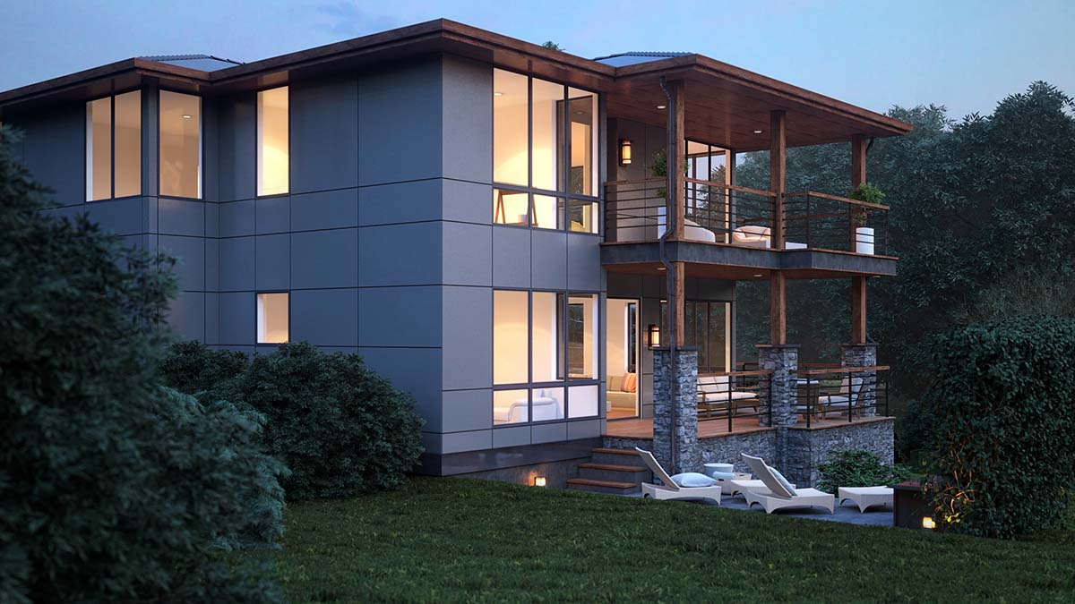 Modern Plan with 3315 Sq. Ft., 4 Bedrooms, 4 Bathrooms, 3 Car Garage Picture 2