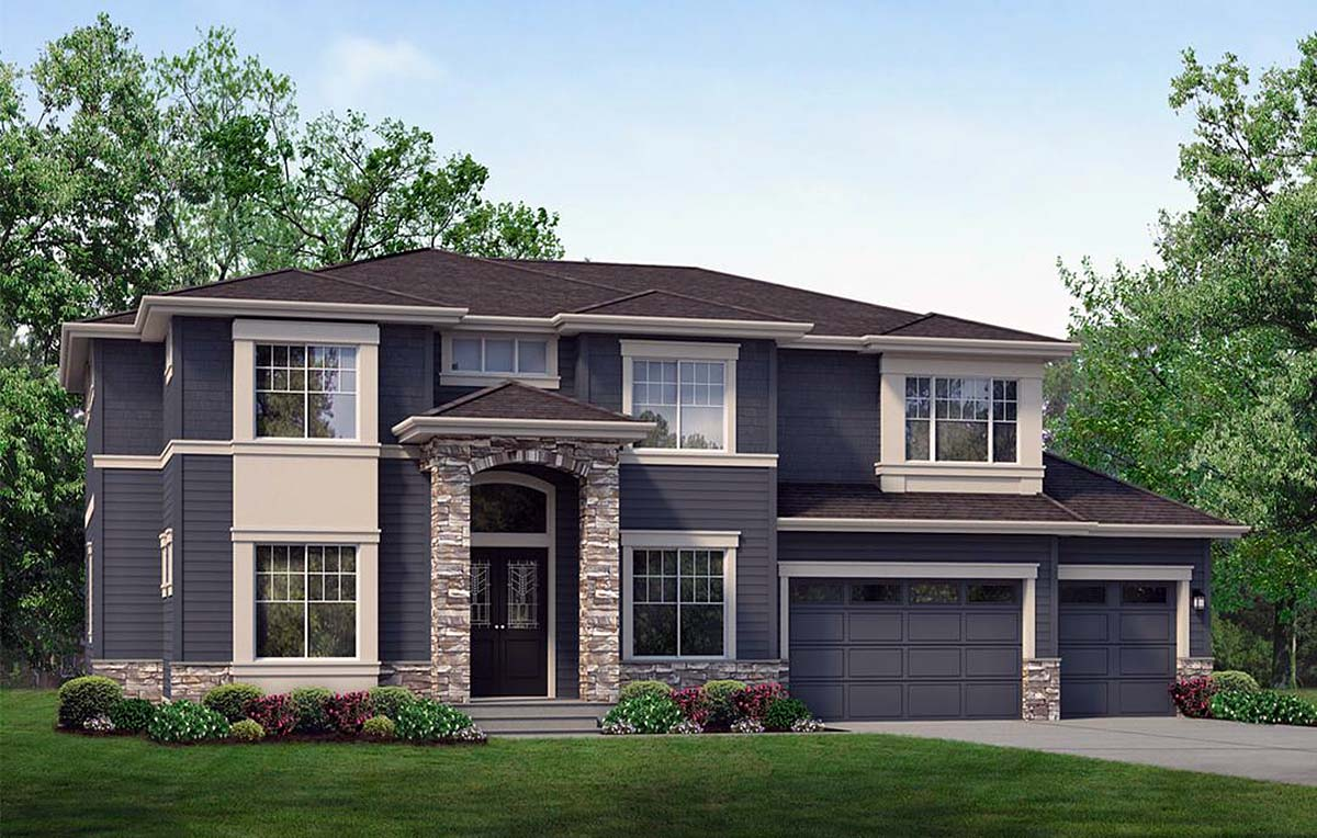 Contemporary House Plan 81923 with 6 Beds, 4 Baths, 3 Car Garage Elevation