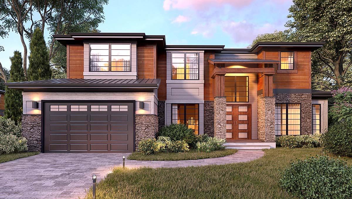 Modern House Plan 81926 with 5 Beds, 4 Baths, 4 Car Garage Elevation