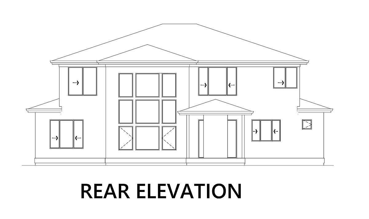 Modern House Plan 81926 with 5 Beds, 4 Baths, 4 Car Garage Rear Elevation