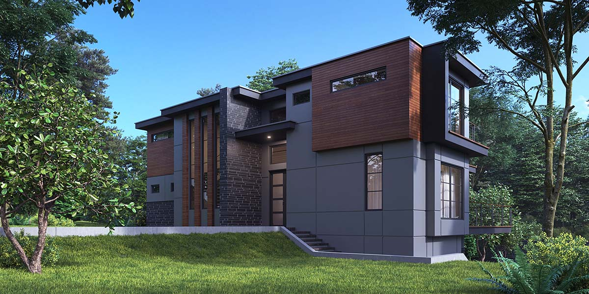 Modern Plan with 4258 Sq. Ft., 4 Bedrooms, 5 Bathrooms, 2 Car Garage Picture 2
