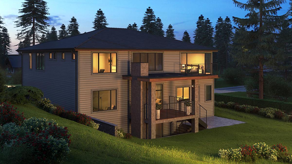 Contemporary, Modern, Prairie House Plan 81929 with 5 Beds, 6 Baths, 3 Car Garage Rear Elevation