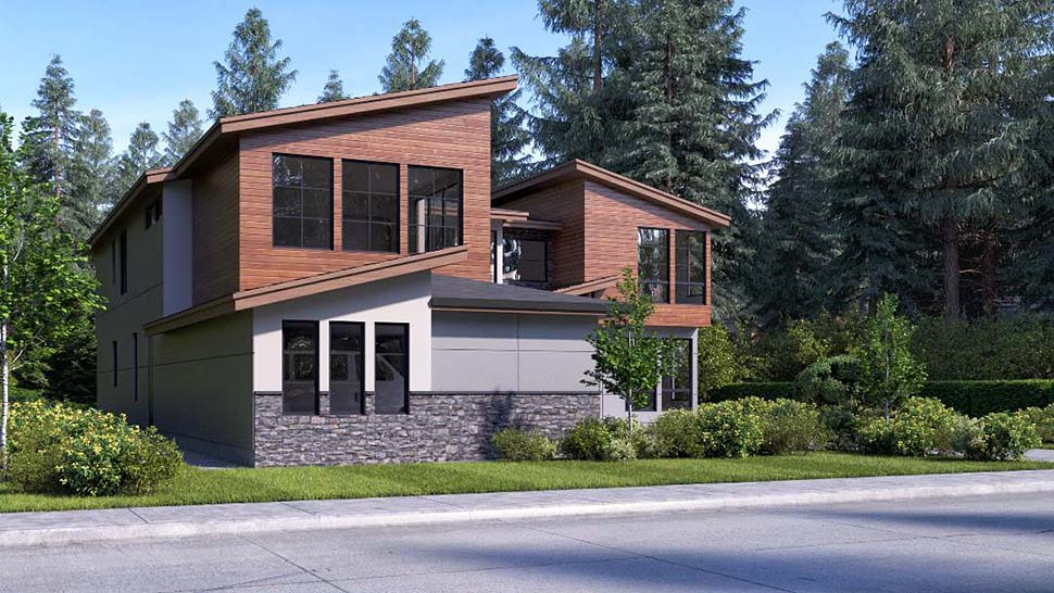 Contemporary, Modern House Plan 81932 with 4 Beds, 3 Baths, 3 Car Garage Picture 2