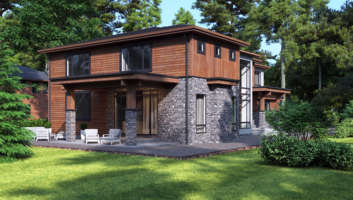 Contemporary, Modern House Plan 81934 with 3 Beds, 4 Baths, 3 Car Garage Rear Elevation