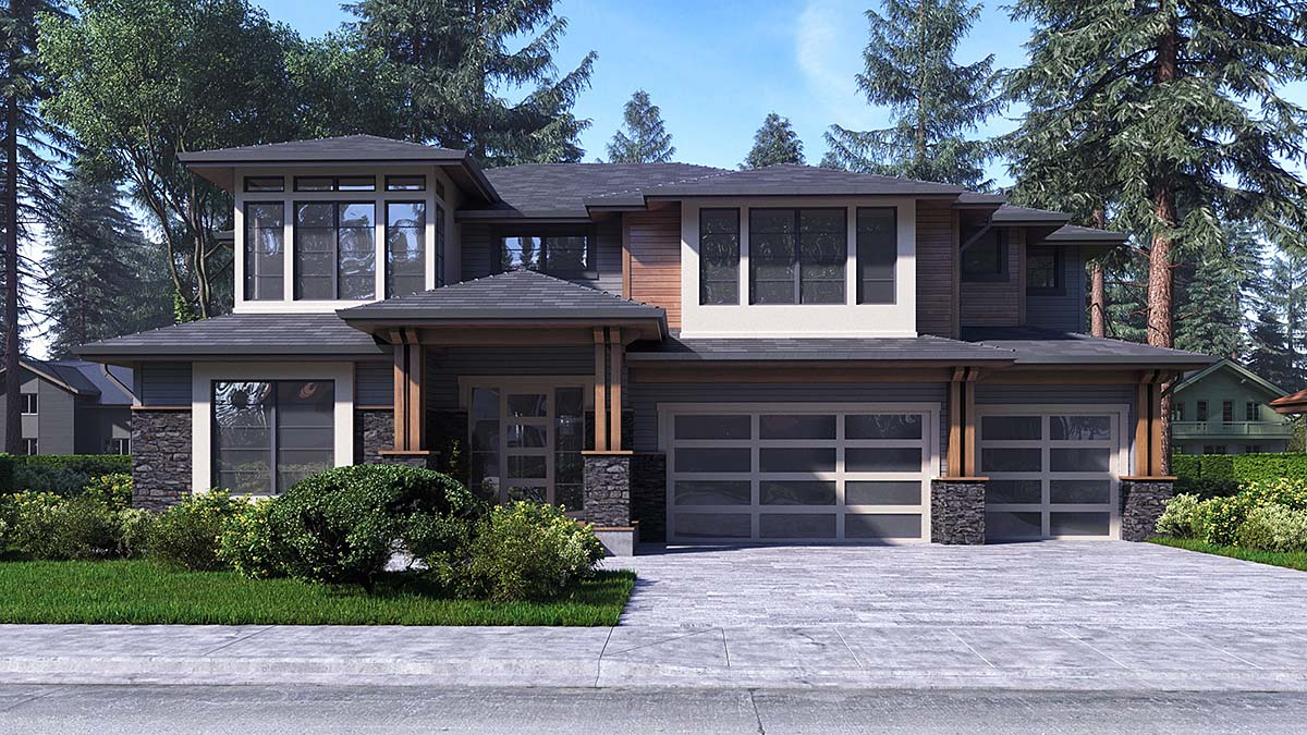 Contemporary, Modern House Plan 81942 with 4 Beds, 4 Baths, 3 Car Garage Elevation