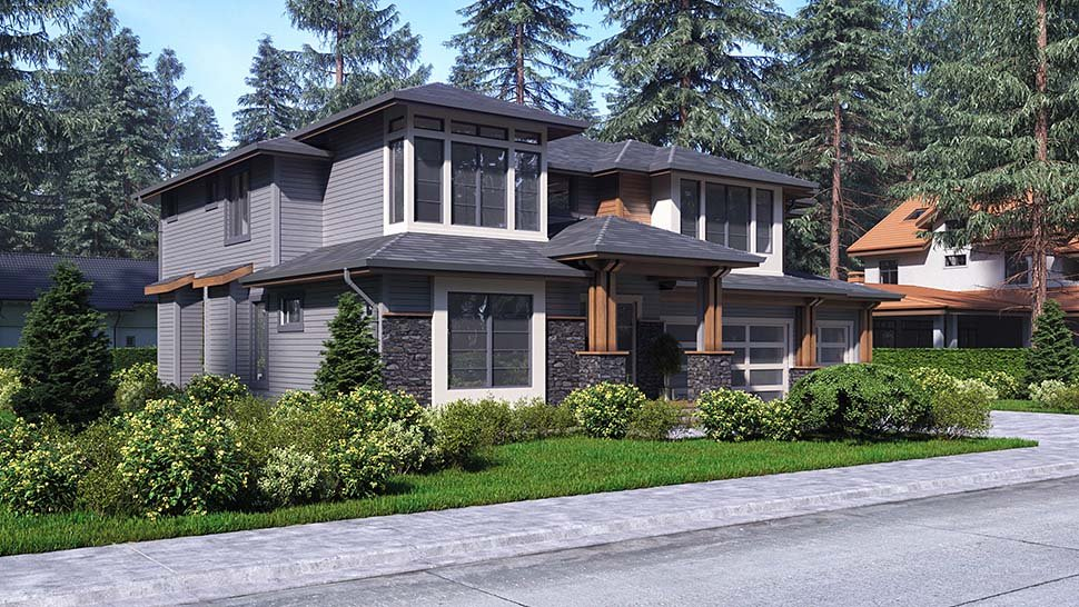 Contemporary, Modern House Plan 81942 with 4 Beds, 4 Baths, 3 Car Garage Picture 2