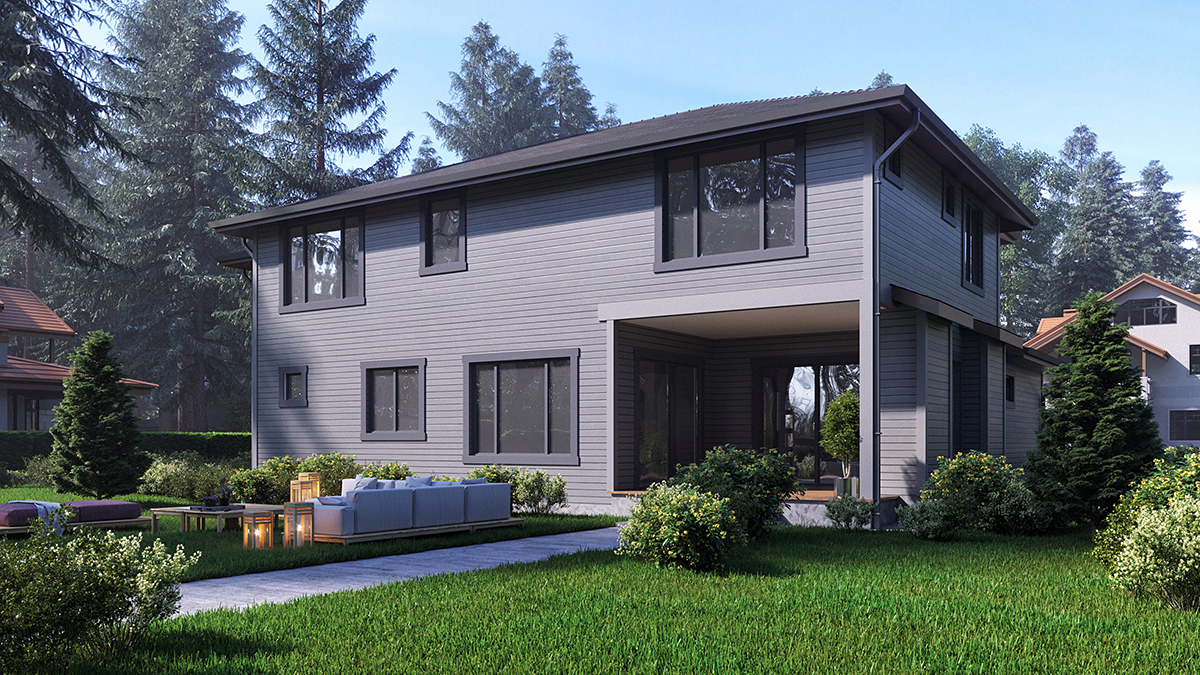 Contemporary, Modern House Plan 81942 with 4 Beds, 4 Baths, 3 Car Garage Rear Elevation