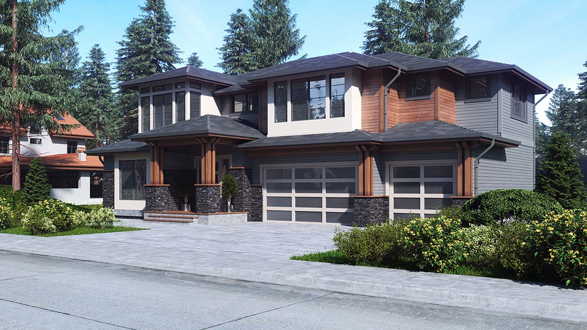 Contemporary, Prairie House Plan 81943 with 5 Beds, 4 Baths, 3 Car Garage Picture 1