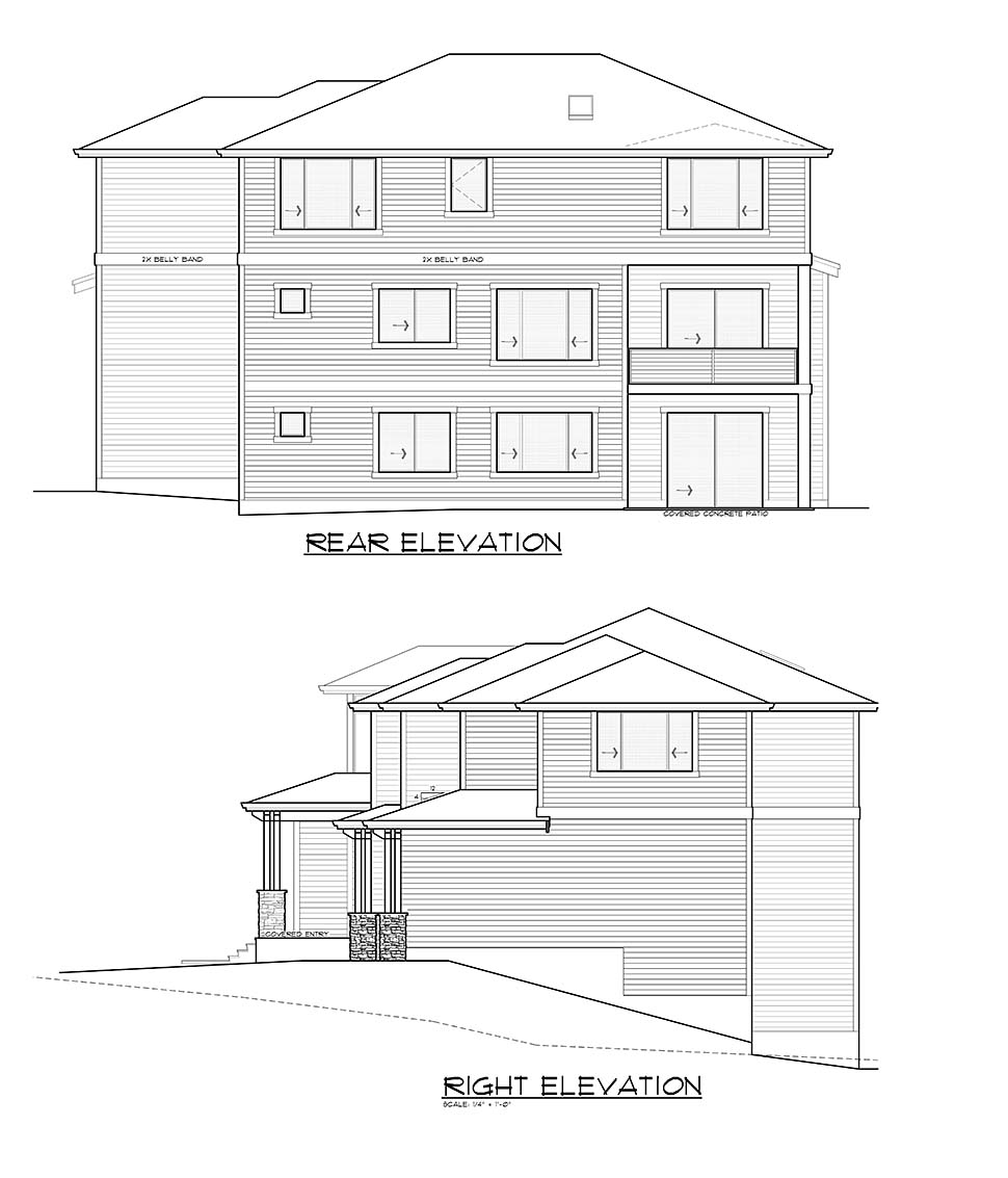 Contemporary, Prairie House Plan 81943 with 5 Beds, 4 Baths, 3 Car Garage Picture 4