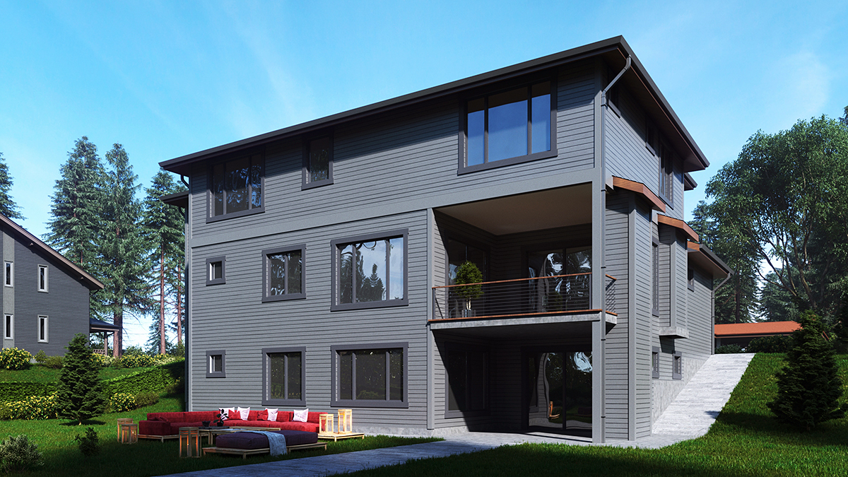 Contemporary, Prairie House Plan 81943 with 5 Beds, 4 Baths, 3 Car Garage Rear Elevation