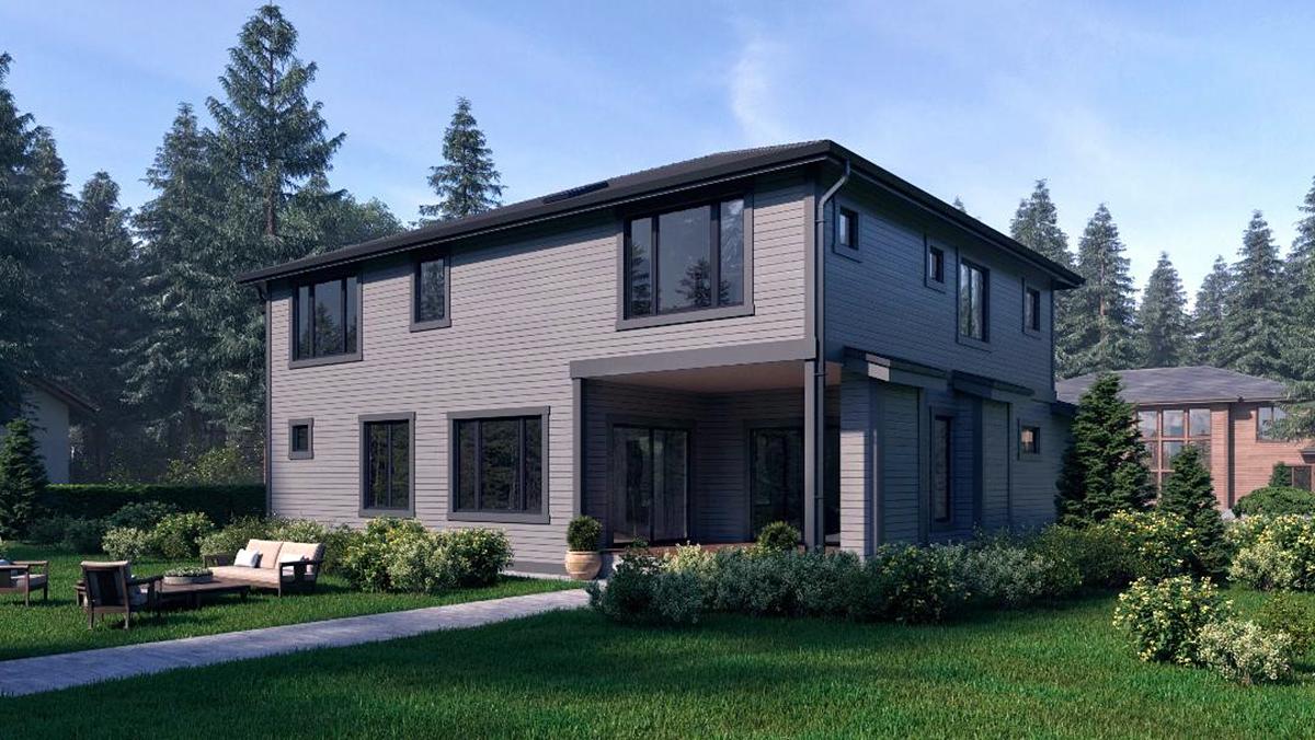Contemporary, Craftsman, Modern House Plan 81944 with 4 Beds, 4 Baths, 3 Car Garage Rear Elevation