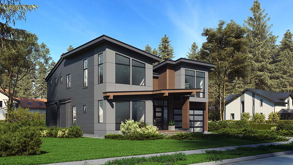 Contemporary, Modern House Plan 81946 with 3 Beds, 4 Baths, 2 Car Garage Picture 2