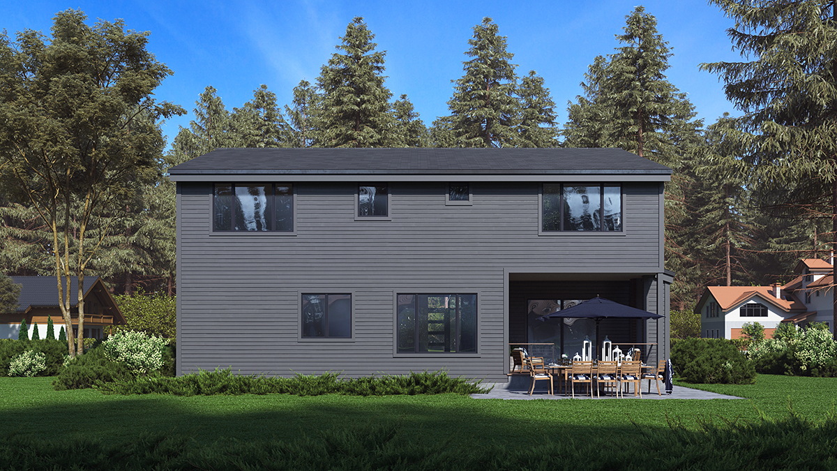 Contemporary, Modern House Plan 81946 with 3 Beds, 4 Baths, 2 Car Garage Rear Elevation