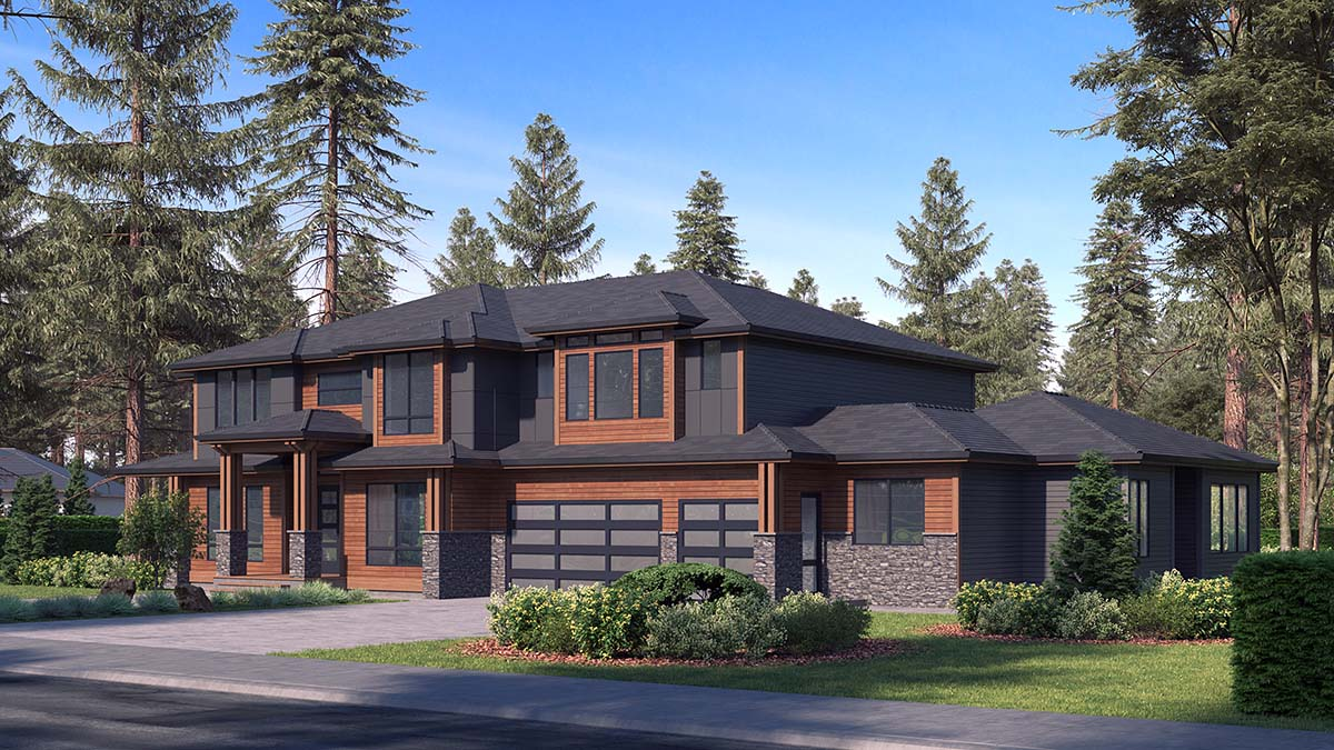 Contemporary, Modern House Plan 81953 with 6 Beds, 6 Baths, 3 Car Garage Picture 1