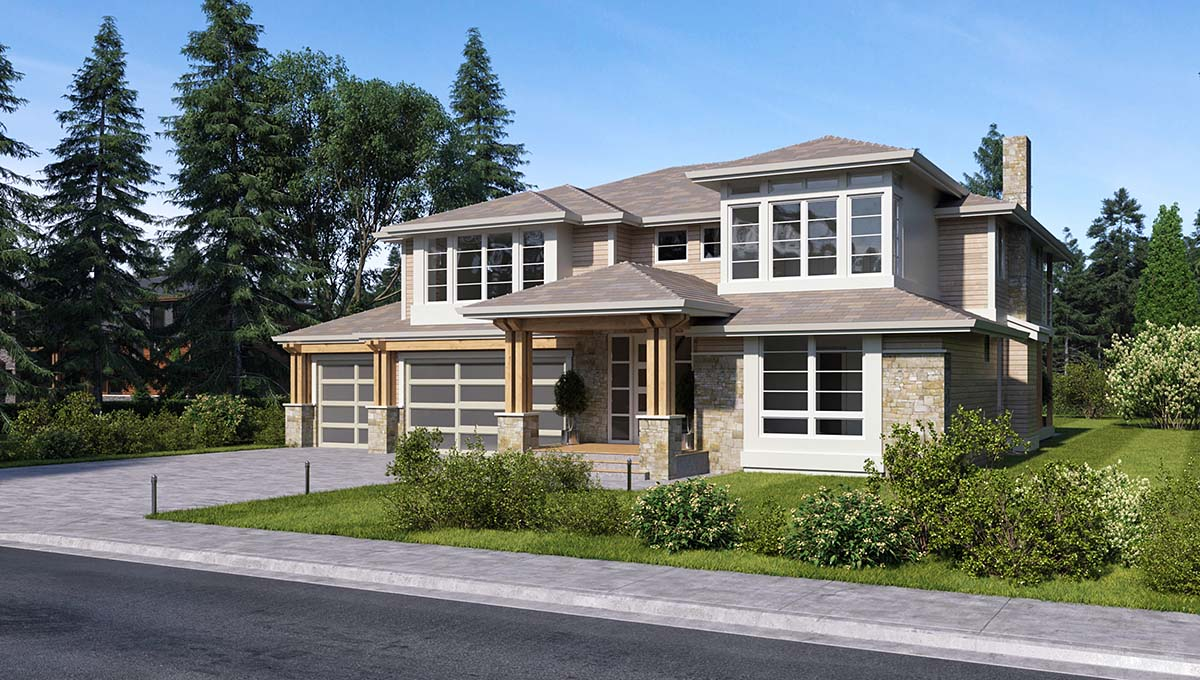 Colonial, Contemporary, Traditional House Plan 81960 with 3 Beds, 4 Baths, 3 Car Garage Picture 1