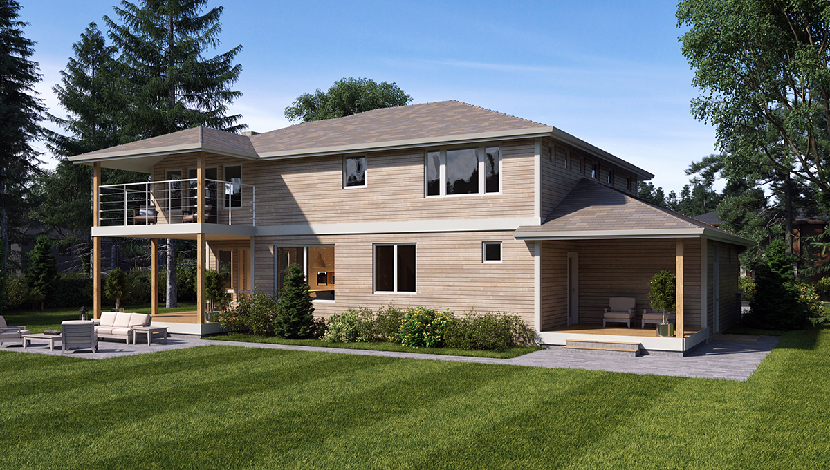 Colonial, Contemporary, Traditional House Plan 81960 with 3 Beds, 4 Baths, 3 Car Garage Rear Elevation