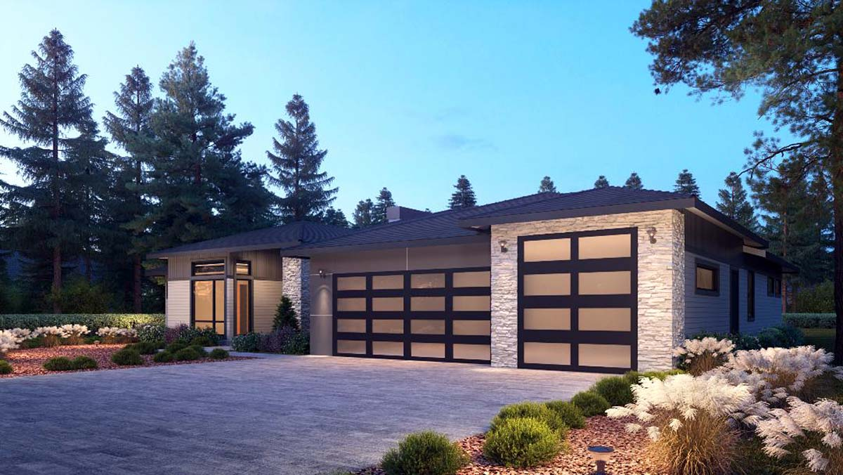Contemporary, Traditional House Plan 81988 with 4 Beds, 4 Baths, 3 Car Garage Picture 1
