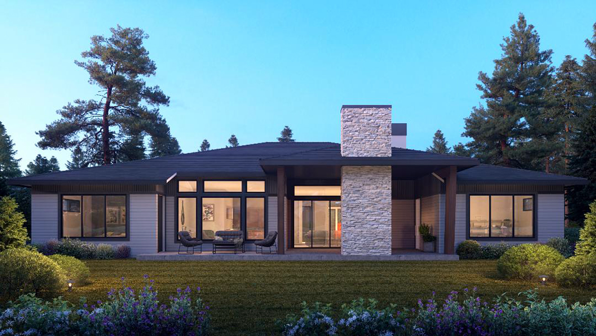 Contemporary, Traditional House Plan 81988 with 4 Beds, 4 Baths, 3 Car Garage Rear Elevation