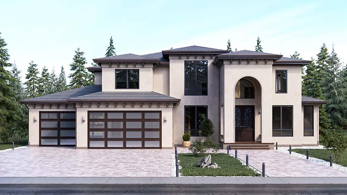Mediterranean House Plan 81989 with 4 Beds, 4 Baths, 4 Car Garage Elevation