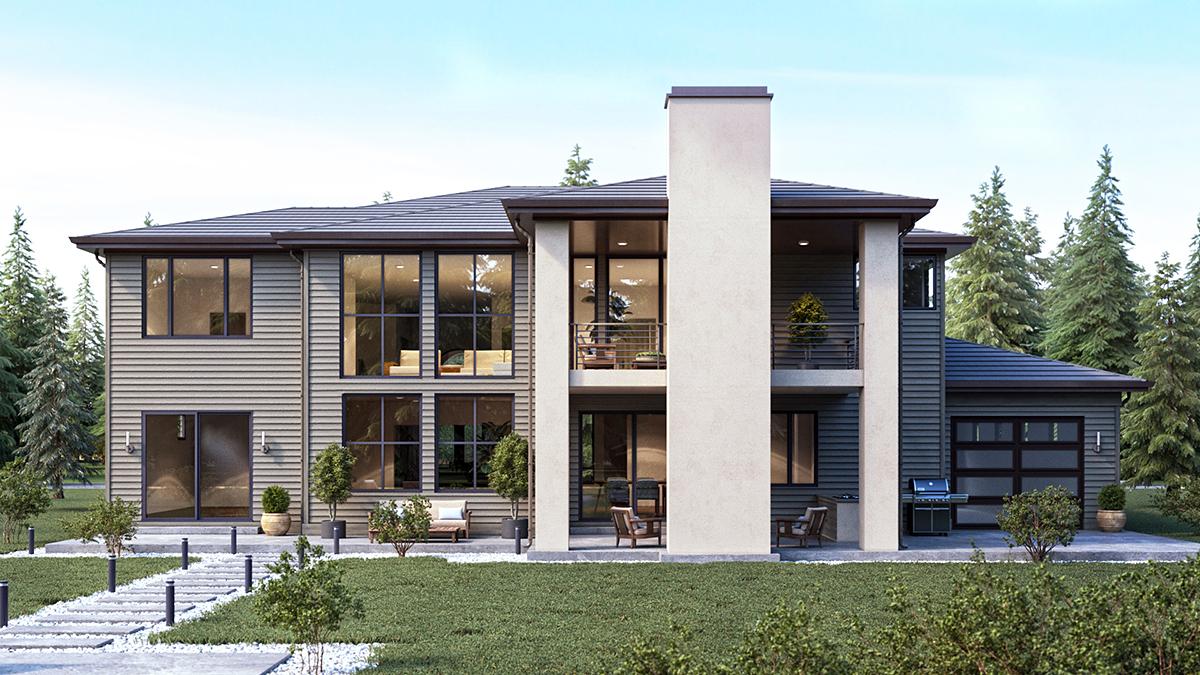 Mediterranean House Plan 81989 with 4 Beds, 4 Baths, 4 Car Garage Rear Elevation