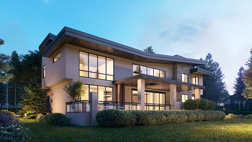 Contemporary House Plan 81990 with 4 Beds, 6 Baths, 3 Car Garage Picture 2