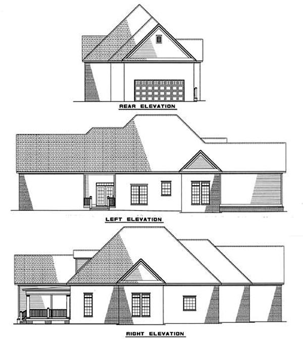 Country House Plan 82016 with 3 Beds, 2 Baths, 2 Car Garage Rear Elevation