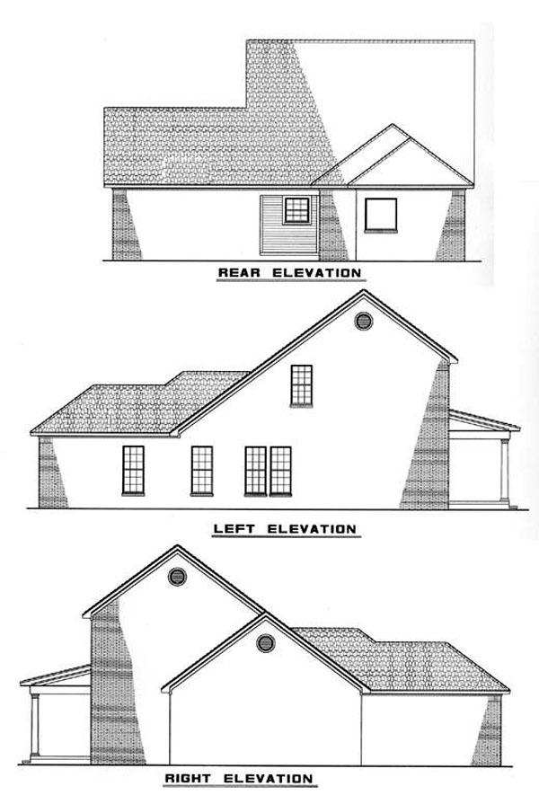 Colonial, Country House Plan 82048 with 3 Beds, 3 Baths, 2 Car Garage Rear Elevation