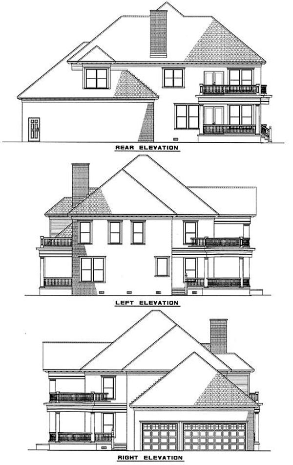 Colonial, Plantation House Plan 82054 with 3 Beds, 4 Baths, 3 Car Garage Rear Elevation