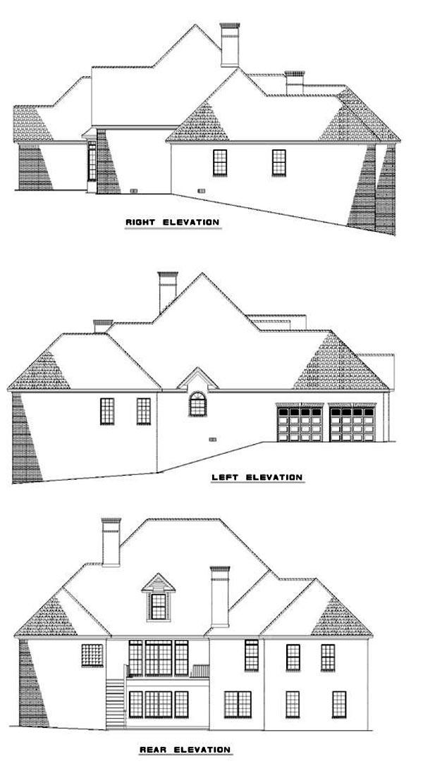 European House Plan 82055 with 5 Beds, 5 Baths, 2 Car Garage Rear Elevation