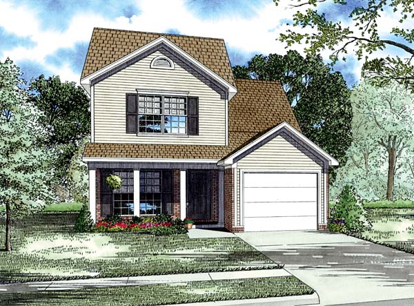 Colonial, Country, Narrow Lot, Traditional House Plan 82065 with 3 Beds, 3 Baths, 1 Car Garage Front Elevation