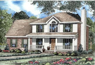 Colonial, Country, Southern House Plan 82073 with 3 Beds, 3 Baths, 2 Car Garage Elevation